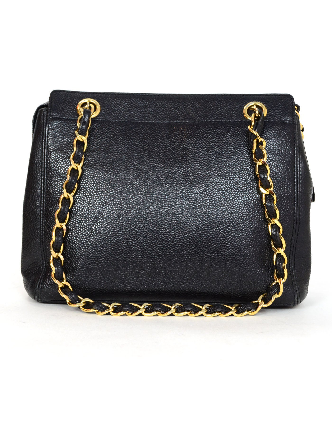 2e31790a0a22 Chanel Vintage Black Caviar Leather CHANEL Logo Tote Bag For Sale at 1stdibs