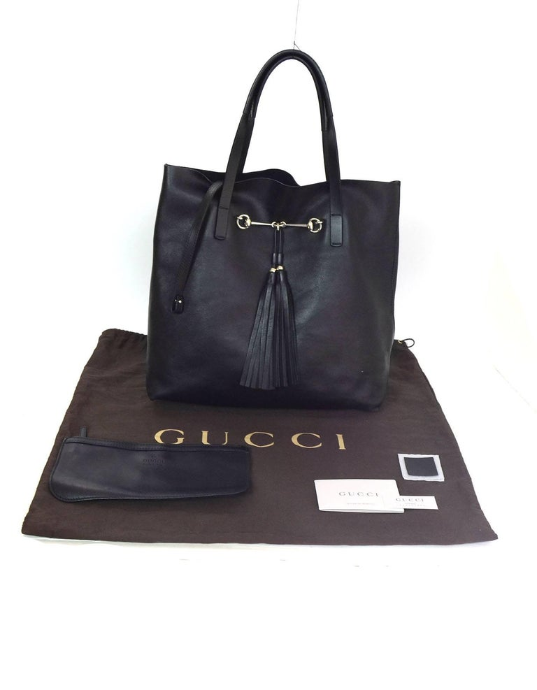 441ce92fc78 Gucci Black Leather Park Avenue Horsebit Tote Bag with DB For Sale ...