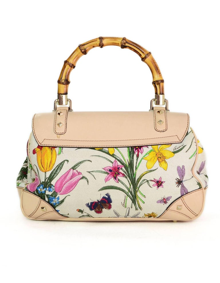 56aef2f9a Gucci Flora Floral Canvas and Bamboo Top Handle Bag For Sale at 1stdibs
