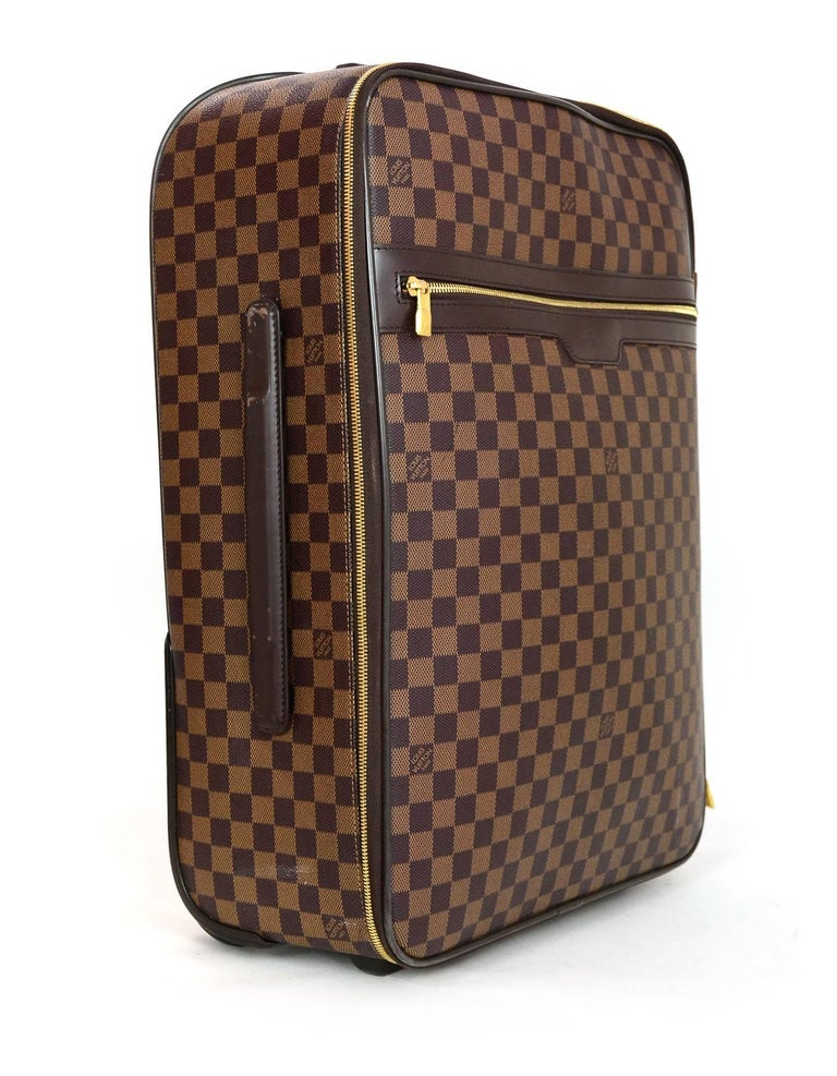 Brown Louis Vuitton Damier Ebene Canvas Pegase 55 Rolling Luggage Travel Bag For