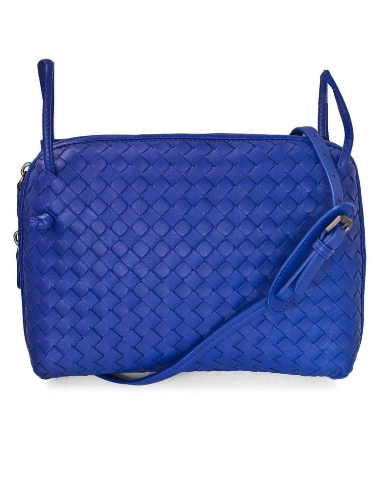 8d8c408583db Bottega Veneta Cobalt Blue Intrecciato Leather Nodini Crossbody Bag at  1stdibs