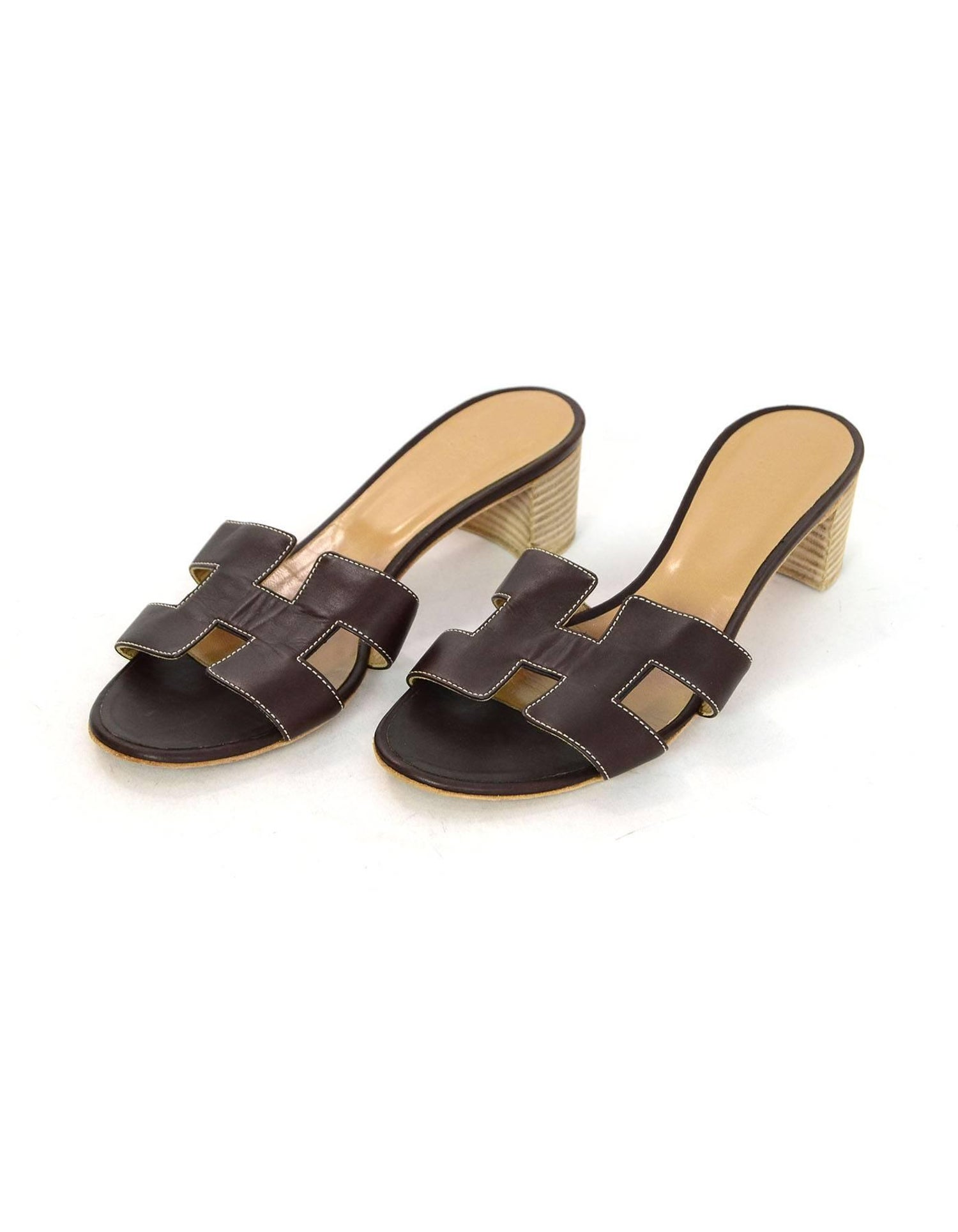 4f088569a359 Hermes Brown Leather Oran H Oasis Sandals Sz 38 For Sale at 1stdibs