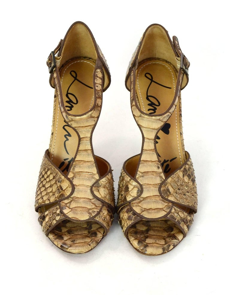 Brown Lanvin Tan Python T-Strap Sandals Sz 38 For Sale
