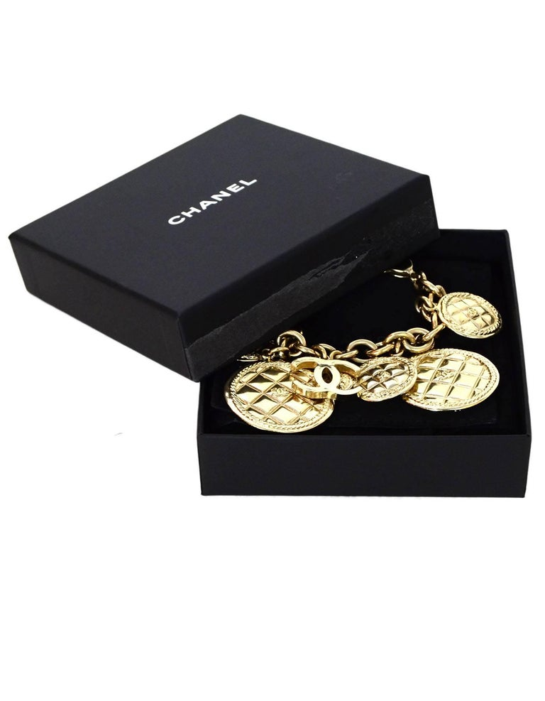 Women's Chanel 2015 Light Goldtone Quilted Disc & CC Charm Bracelet with Box For Sale