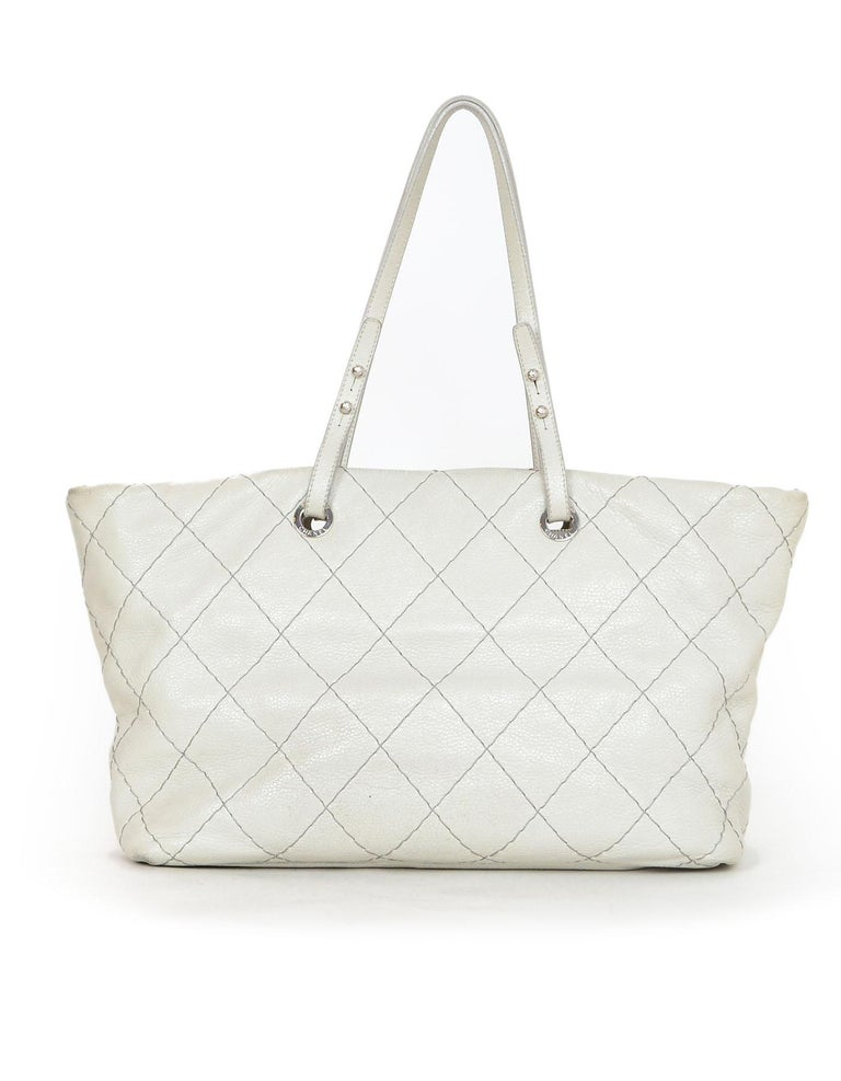 Gray Chanel Off-White Glazed Calfskin Large On The Road Tote Bag For Sale c35bfac907