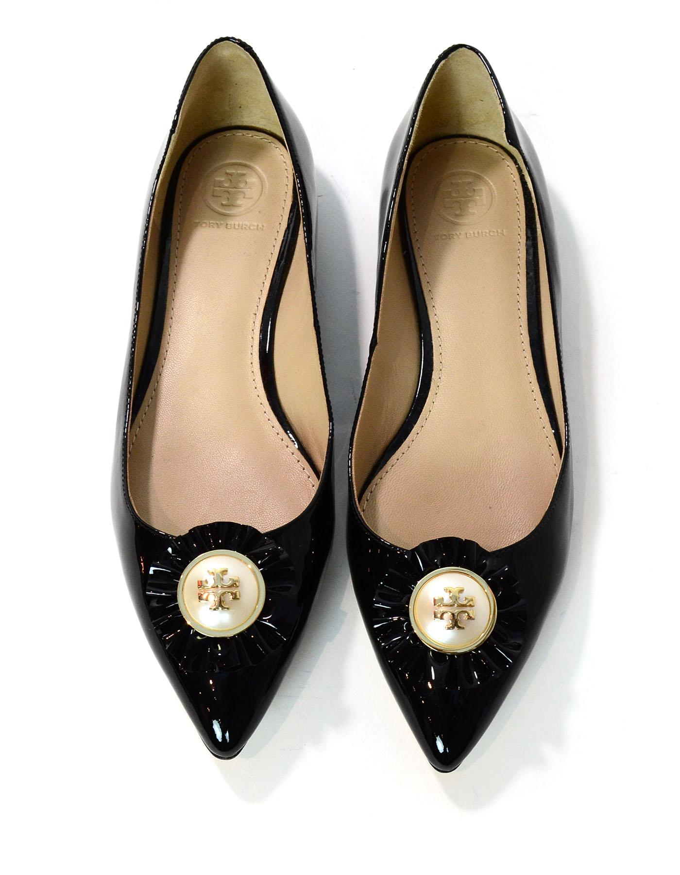 6d852eb38b15 Tory Burch Black Patent Leather Melody Pearl Flats Sz 7M NEW with DB For Sale  at 1stdibs