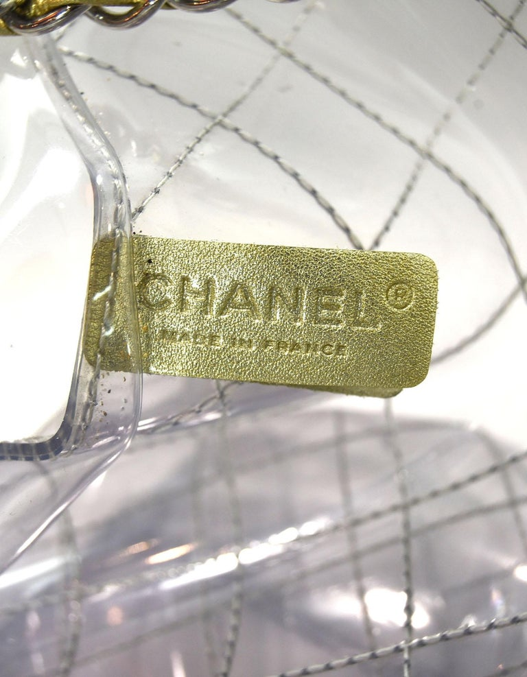 f8df8d594685 Chanel Collectors Clear and Gold Quilted PVC XXL CC Tote Bag For Sale 2