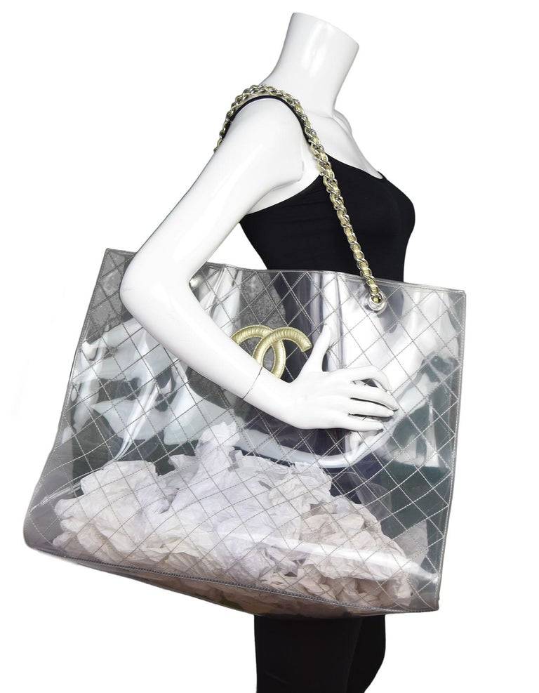 Chanel Clear Quilted Pvc L Cc Tote Made In France Year Of Production 2006
