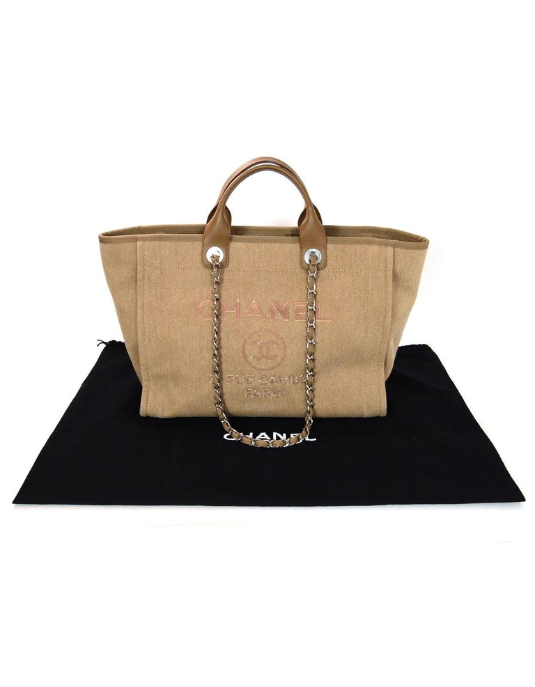 f914b50e46d6 Chanel Tan Canvas and Sequin Large Deauville Tote Bag, 2017 For Sale 4