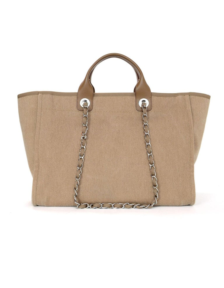 Brown Chanel Tan Canvas and Sequin Large Deauville Tote Bag, 2017  For Sale