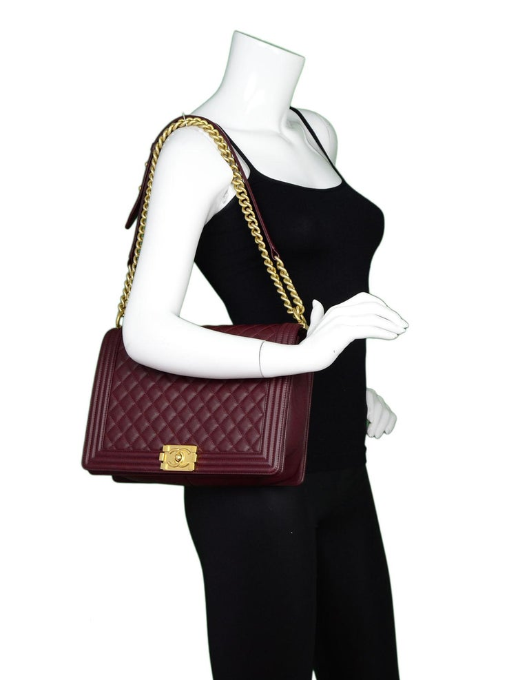 1c8cef9a53f0 Chanel Burgundy Quilted Lambskin Leather Large Boy Crossbody Flap Bag For  Sale 4