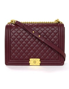Chanel Burgundy Quilted Lambskin Leather Large Boy Crossbody Flap Bag