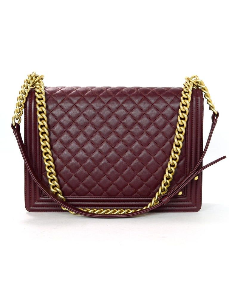 Chanel Burgundy Quilted Lambskin Leather Large Boy ...