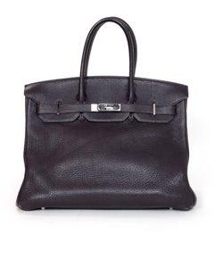 Hermes Purple Togo Leather 35cm Birkin Bag with Palladium Hardware