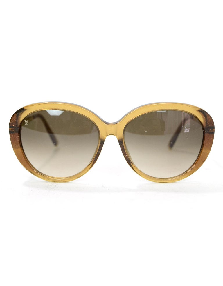 74360bd7ce5b Brown Louis Vuitton Honey Glitter Acetate Bluebell Sunglasses with Case For  Sale