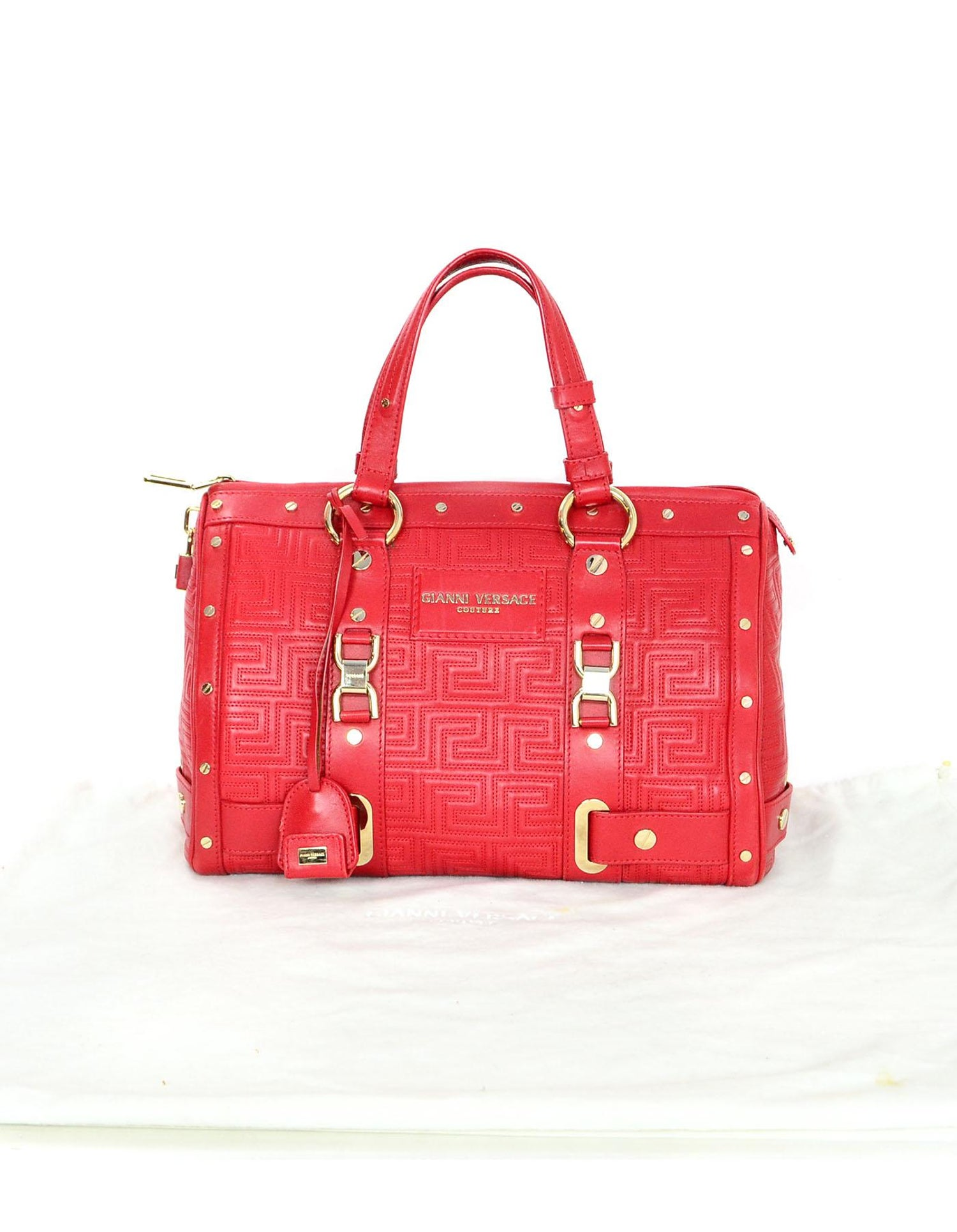 604feef63f Versace Red Quilted Leather Boston Bag For Sale at 1stdibs