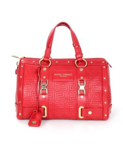 Versace Red Quilted Leather Boston Bag with Dust Bag