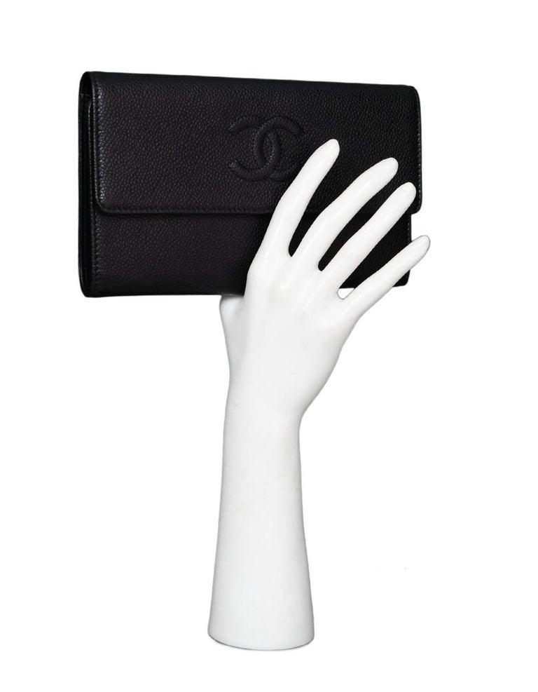0ee49e4004b4 Chanel Black Caviar CC Flap Wallet Made In: Italy Color: Black Materials:  Caviar