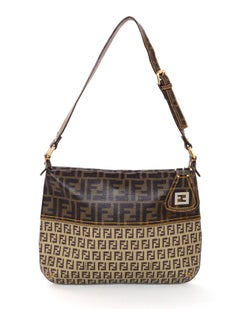 Fendi Brown Canvas Mixed Zucca Monogram Print Shoulder Bag