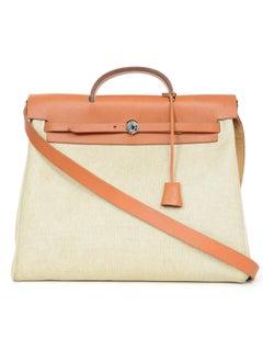 Hermes Vintage Natural Toile & Vache Calfskin Leather Herbag Bag
