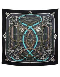 Hermes Dark Grey, Black & Blue Cavalcadour Silk 90cm Scarf with Box