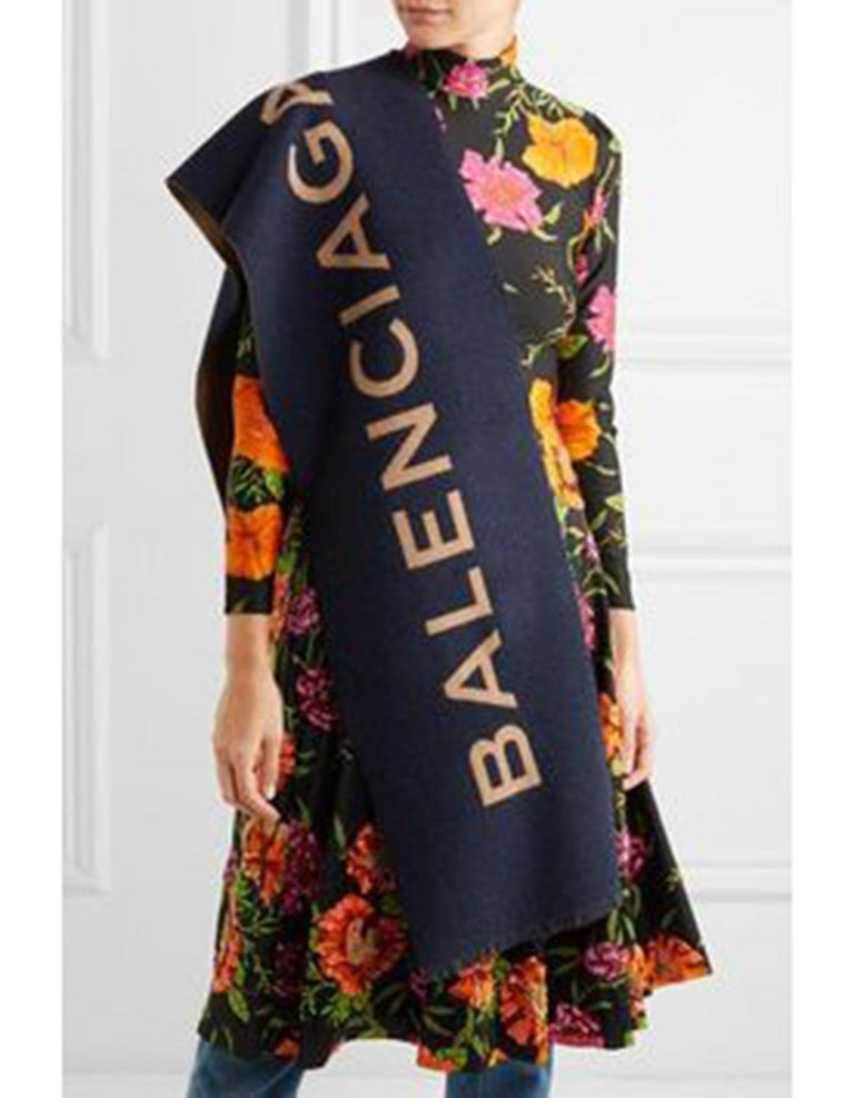 f199dfded64c Balenciaga Navy   Tan Cashmere Blanket Scarf NWT Made In  Italy Color  Navy