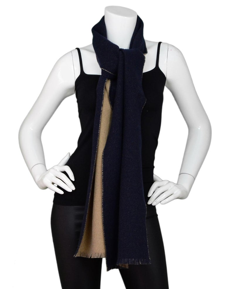 0b65ba57be9c Balenciaga Navy and Tan Cashmere Blanket Scarf In Excellent Condition For  Sale In New York