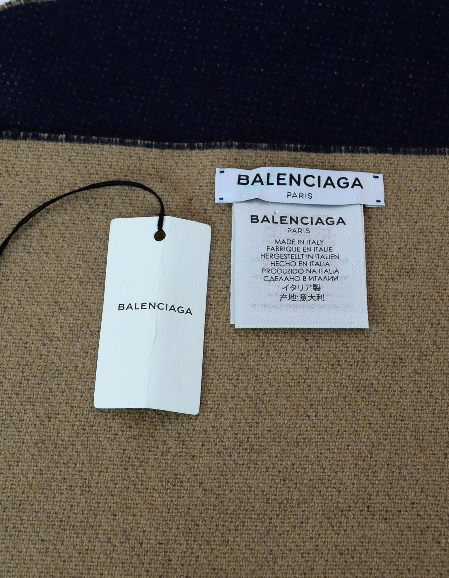 ece36ca4ae49 Balenciaga Navy and Tan Cashmere Blanket Scarf For Sale at 1stdibs