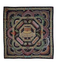 Hermes Black & Multi-Color Parures des Maharajas Cashmere & Silk 140cm Shawl Sca