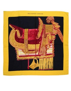 Hermes Yellow Selle d'Apparat Marocaine Cashmere & Silk 140cm Scarf Shawl