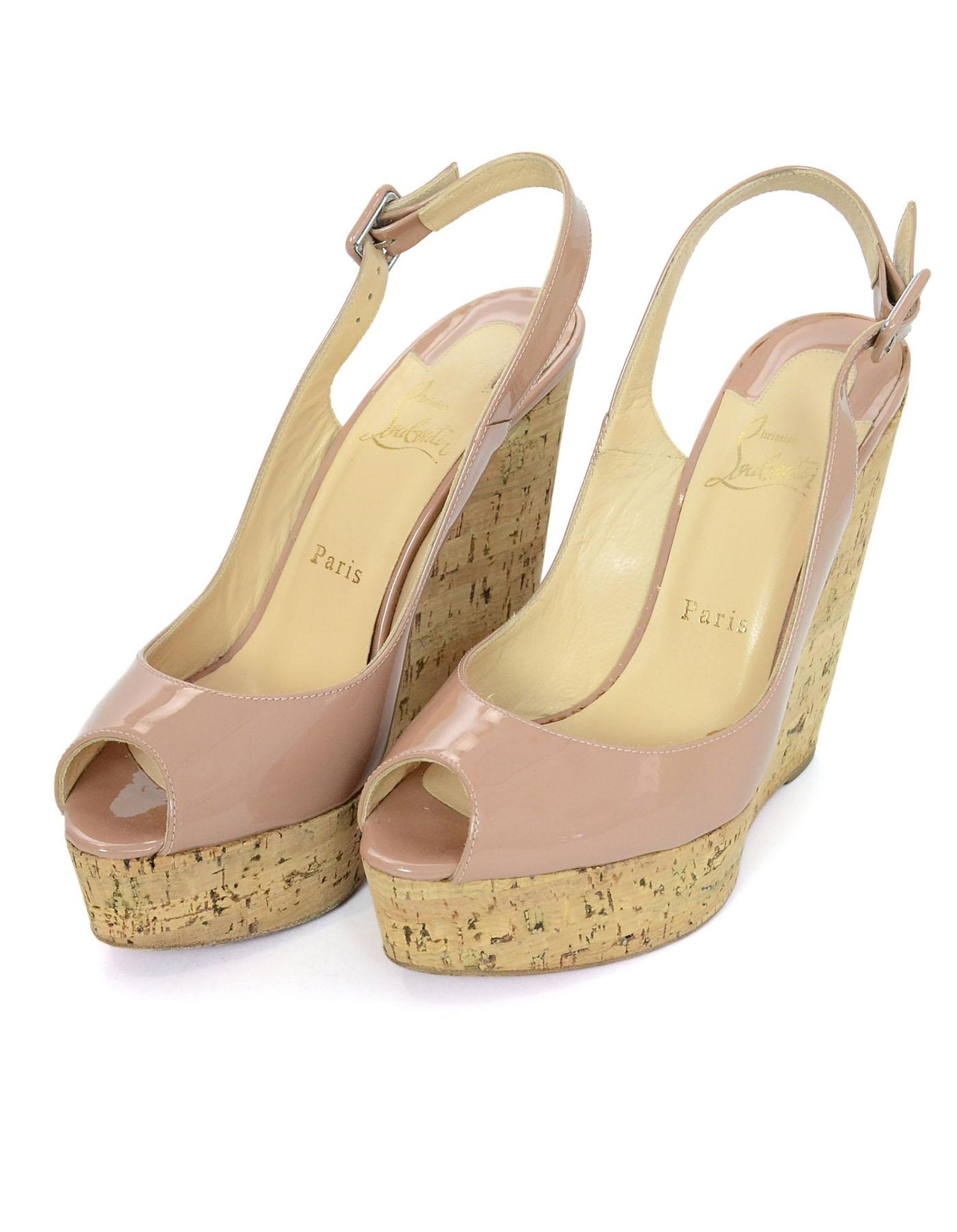 online store 7efab bac8d Christian Louboutin Nude Patent Une Plume Sling 140mm Wedges Sz 38