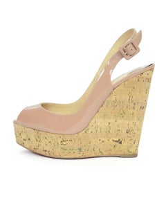 Christian Louboutin Nude Patent Une Plume Sling 140mm Wedges Sz 38