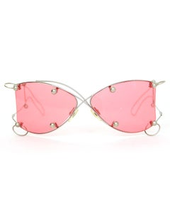 Chanel Runway Wire-Frame and Pierced Pink Lens Sunglasses with Box