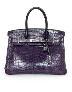 Hermes 2011 Purple Amethyst Nilo Crocodile 30cm Birkin Bag with Cities Paper