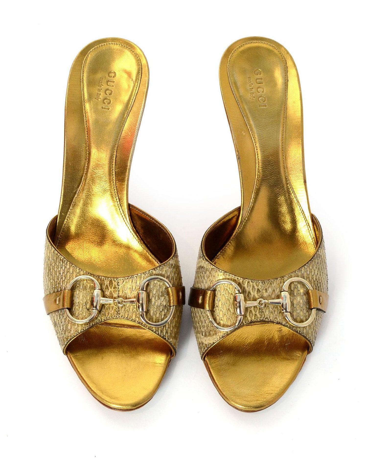 b1eaf60c58f Gucci Gold Python Horsebit Mules Sz 9B For Sale at 1stdibs