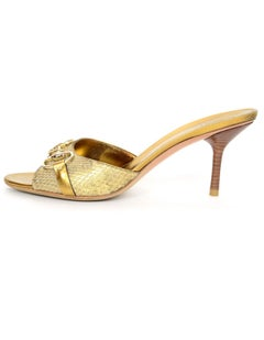 Gucci Gold Python Horsebit Mules Sz 9B