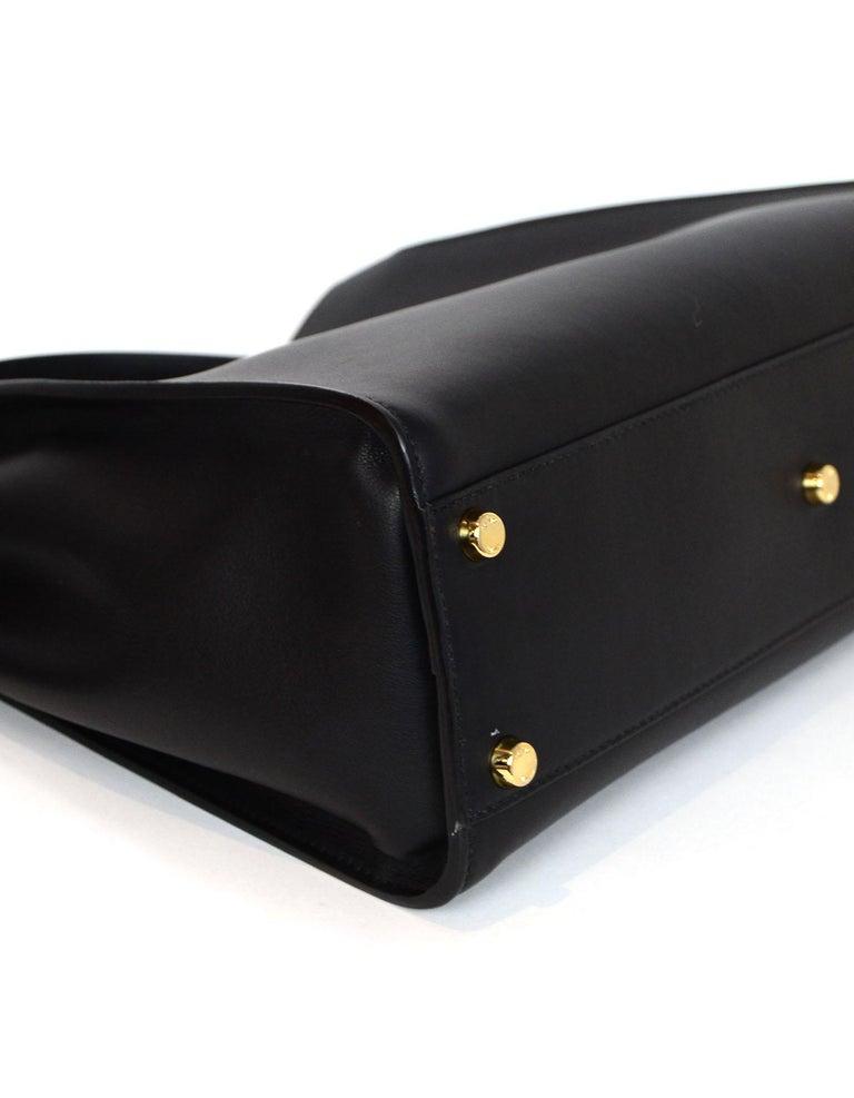 Women's Fendi Black and Beige Calf Leather Peekaboo Essential Satchel Bag   For Sale