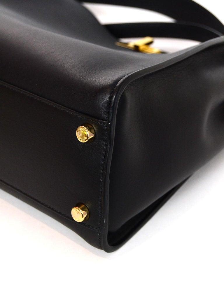 Fendi Black and Beige Calf Leather Peekaboo Essential Satchel Bag   For Sale 1