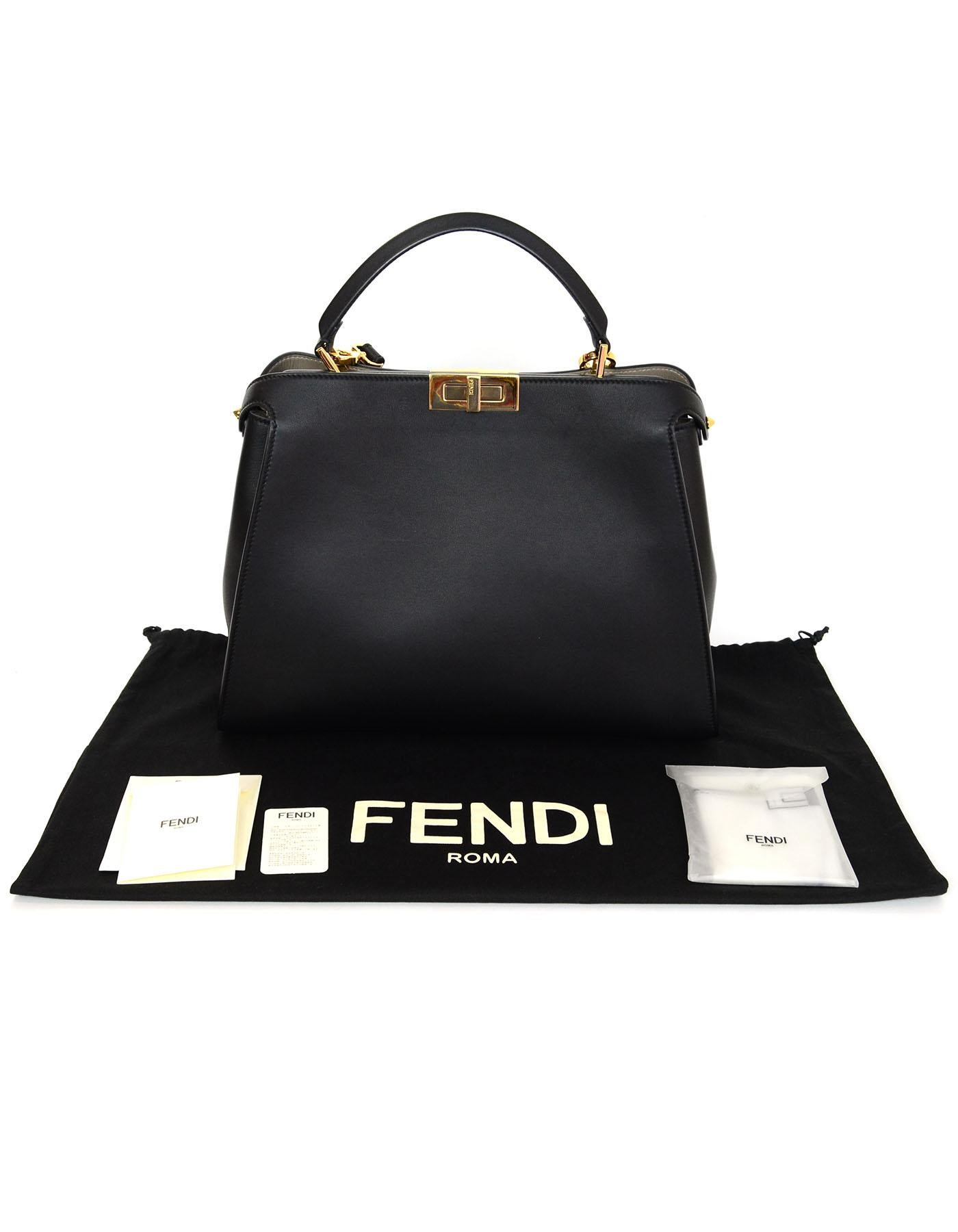 156a5a16e2 ... get fendi black and beige calf leather peekaboo essential satchel bag  for sale 5 c949c 4d1c6 ...