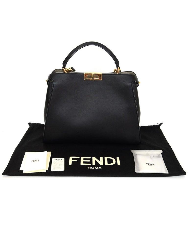 Fendi Black and Beige Calf Leather Peekaboo Essential Satchel Bag   For Sale 5
