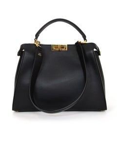 Fendi Black & Beige Calf Leather Peekaboo Essential Satchel Bag rt. $5,400