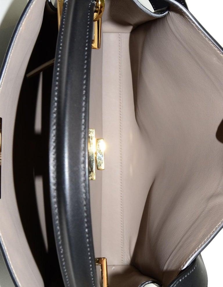 Fendi Black and Beige Calf Leather Peekaboo Essential Satchel Bag   For Sale 2