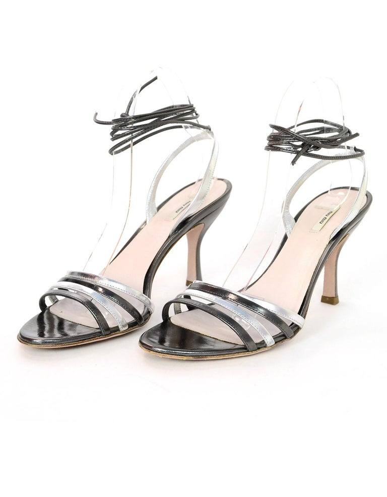 52c269dbcd0 Miu Miu Silver & Pewter Leather Strappy Sandals Sz 37.5 with Box
