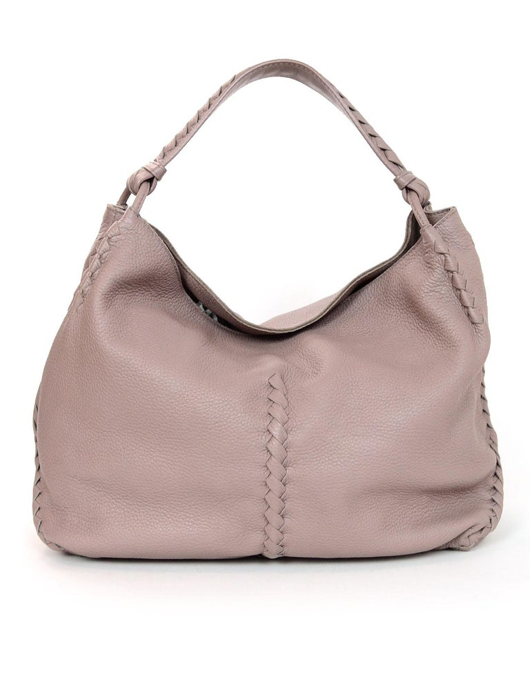 Brown Bottega Veneta Mauve Deerskin Hobo Bag with Woven Trim For Sale 70efa9d93722