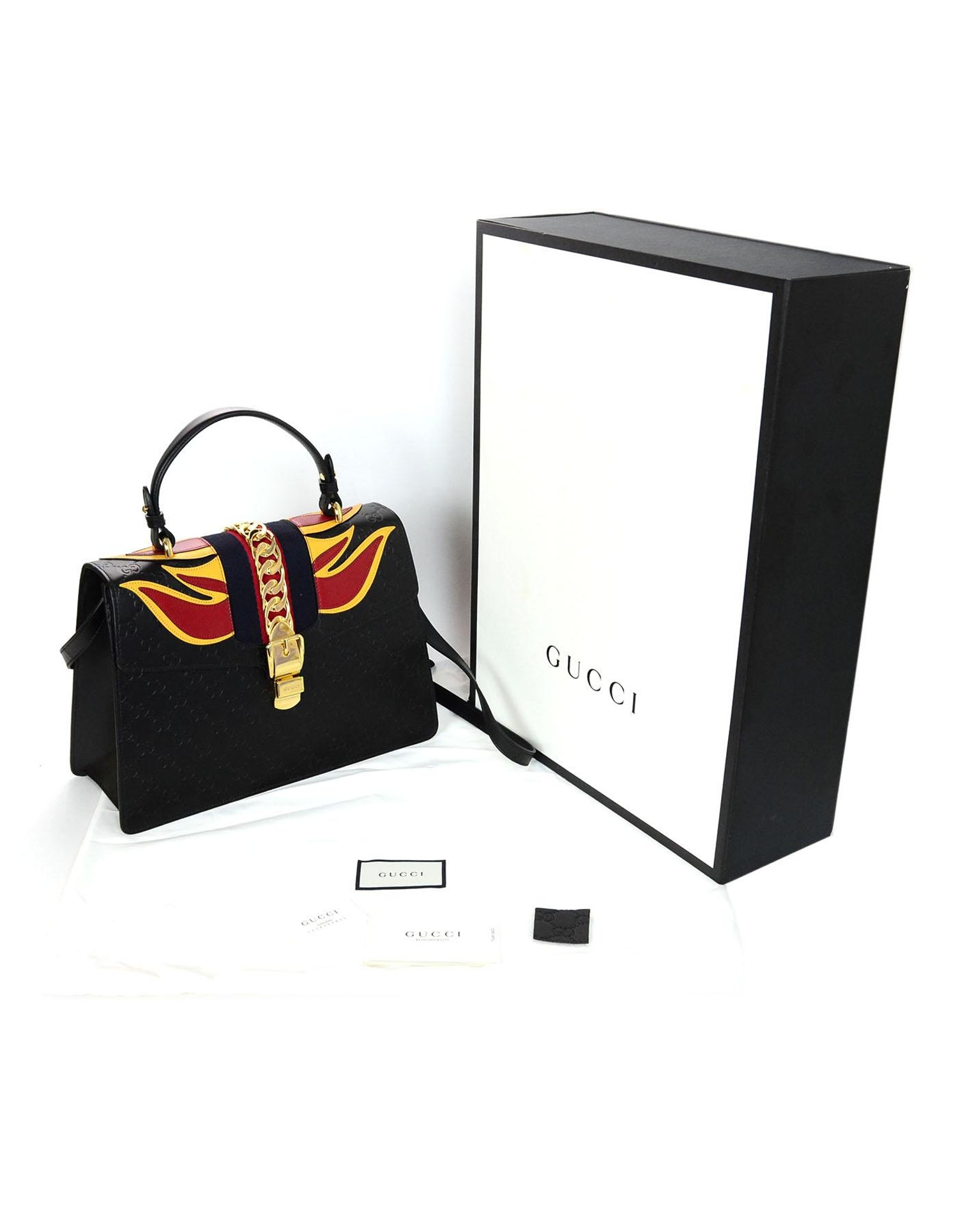 caa0b636af0e05 Gucci Black Leather Monogram Guccissima Medium Sylvie Flame Bag at 1stdibs