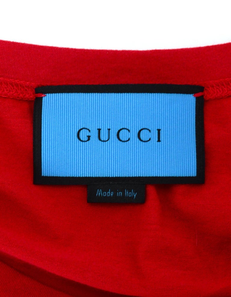 Gucci Unisex 2016 Red GG Ghost Diamond T-Shirt sz Men's S rt. $450 For Sale 1