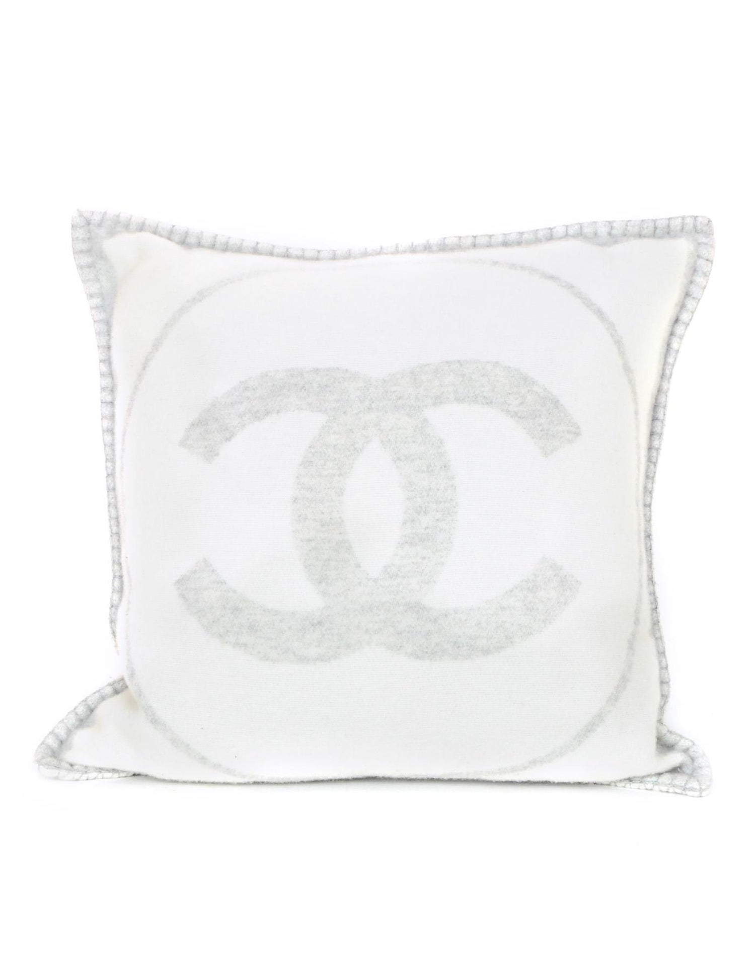 098ffa5e679 Chanel Off White and Grey Wool and Cashmere CC Square Throw Pillow and  Cover at 1stdibs