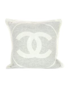Chanel Grey/Off White Wool & Cashmere CC Square Throw Pillow w/ Cover