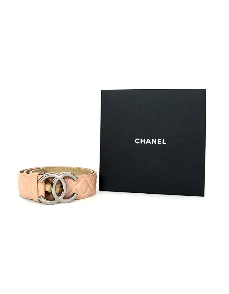 Chanel 2014 Nude Lambskin Leather Quilted CC Belt sz 90/32 For Sale 4