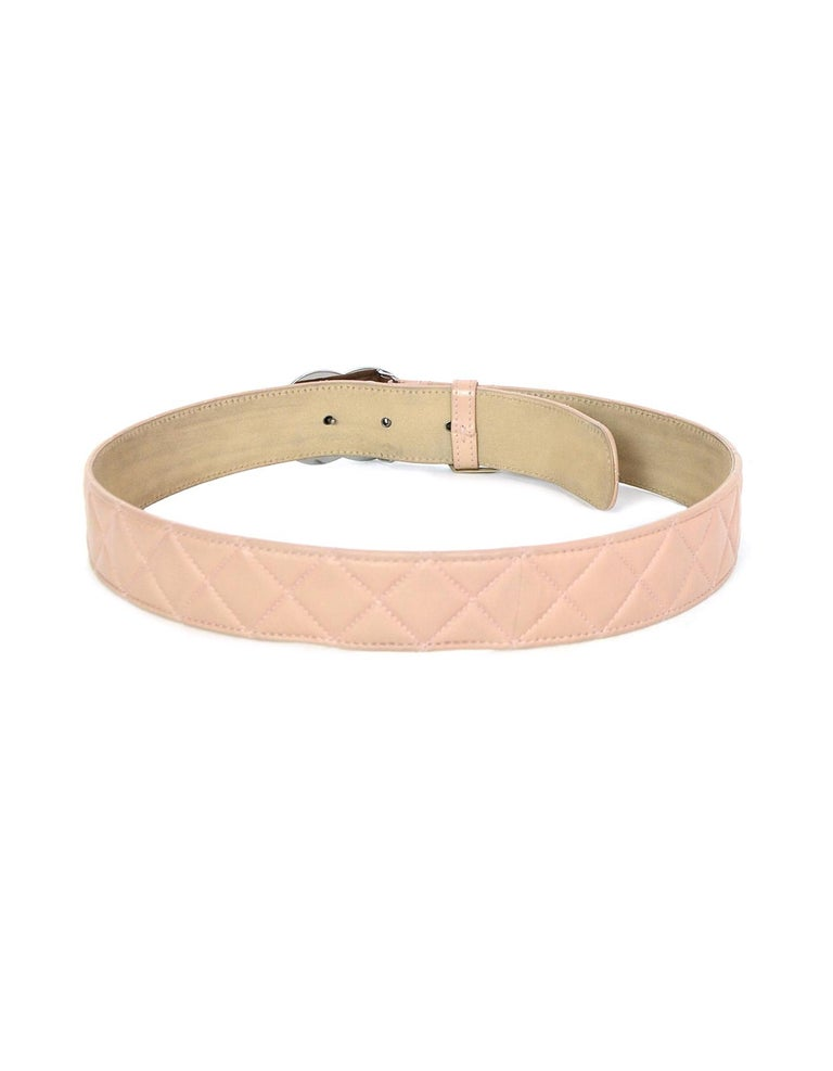 Women's Chanel 2014 Nude Lambskin Leather Quilted CC Belt sz 90/32 For Sale